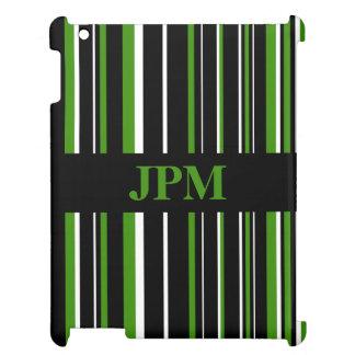 Negro del monograma, raya verde del código de