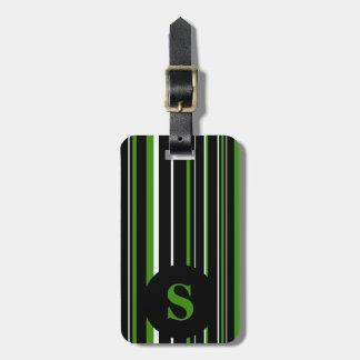 Negro del monograma, verde, raya del círculo del etiqueta para maleta
