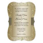 Negro del monograma y boda del remolino del oro invitación personalizada