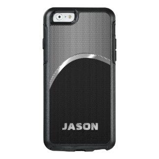 Negro del monograma y modelo metálico de plata del funda otterbox para iPhone 6/6s