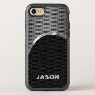 Negro del monograma y modelo metálico de plata del funda OtterBox symmetry para iPhone 7