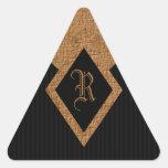 Negro del monograma y pegatinas elegantes del calcomania de triangulo personalizadas