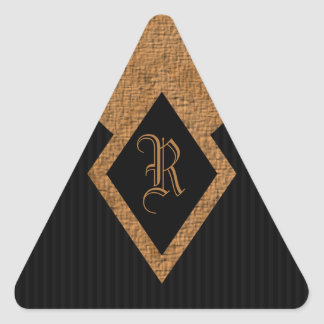 Negro del monograma y pegatinas elegantes del pegatina triangular