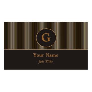 Negro del monograma y tarjeta de visita del oro