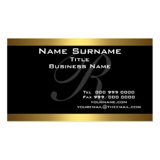 Negro del monograma y tarjetas de visita del oro