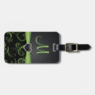 Negro del monograma y verde elegantes del Peridot Etiquetas Bolsas