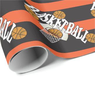 Negro del naranja del baloncesto papel de regalo