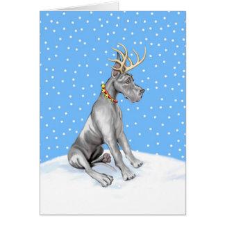 Negro del navidad del reno de great dane tarjeton