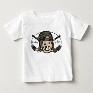 Negro del niño del hockey playera de bebé