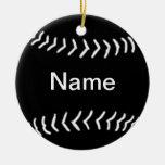 Negro del ornamento de la silueta del softball ornamento para arbol de navidad