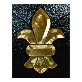 Negro del oro de Flor New Orleans de la flor de li Membretes Personalizados