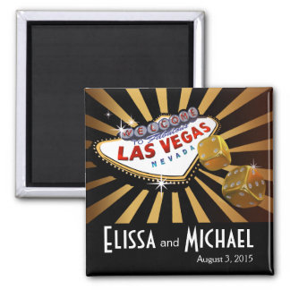Negro del oro del favor del boda de Las Vegas Star Imán Cuadrado