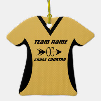 Negro del oro del jersey del campo a través adorno de cerámica en forma de playera