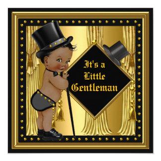 """Negro del oro del muchacho de la fiesta de invitación 5.25"""" x 5.25"""""""
