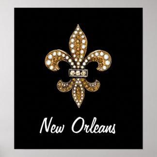 Negro del oro del poster de Flor New Orleans de la