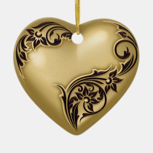 Negro del oro w de la voluta del corazón adorno navideño de cerámica en forma de corazón