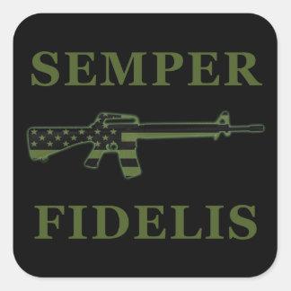 Negro del pegatina de Semper Fidelis M16 sometido
