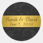 Negro del pegatina del boda con la cinta del oro