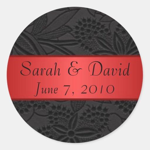 Negro del pegatina del boda con la cinta roja