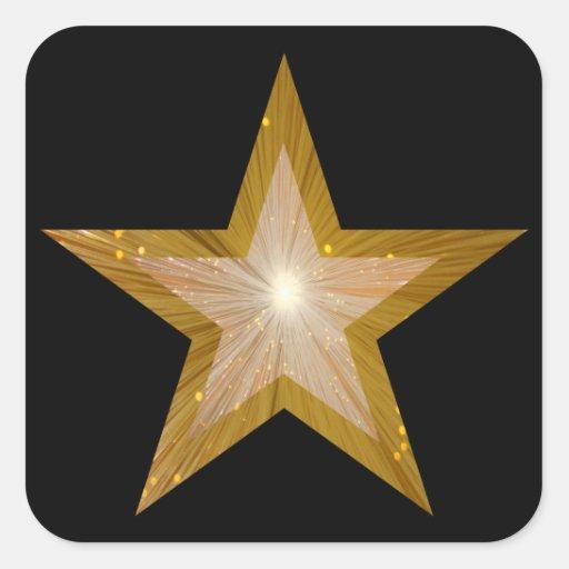 Negro del pegatina del cuadrado de la estrella del
