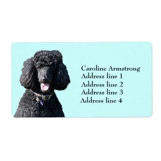 Negro del perro de caniche estándar, etiquetas de  etiqueta de envío