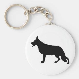 Negro del perro de pastor alemán llavero redondo tipo pin