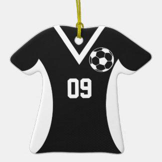 Negro del personalizable del jersey de fútbol adorno de cerámica en forma de camiseta