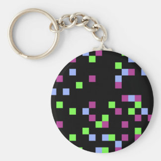 negro del pixel llavero redondo tipo pin