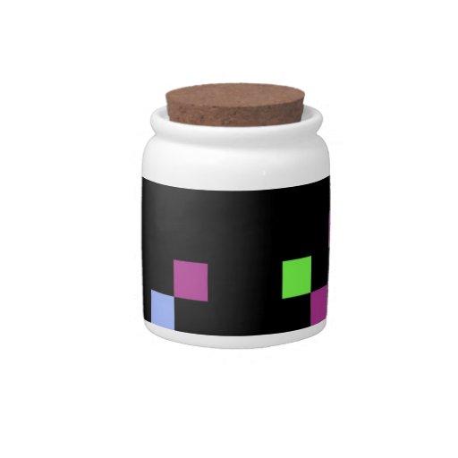 negro del pixel platos para caramelos