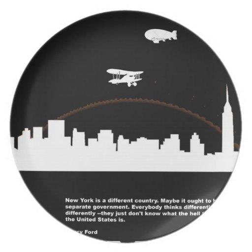 Negro del poster de New York City Plato De Comida