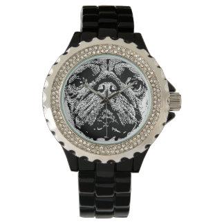 Negro del reloj del diamante artificial de la cara