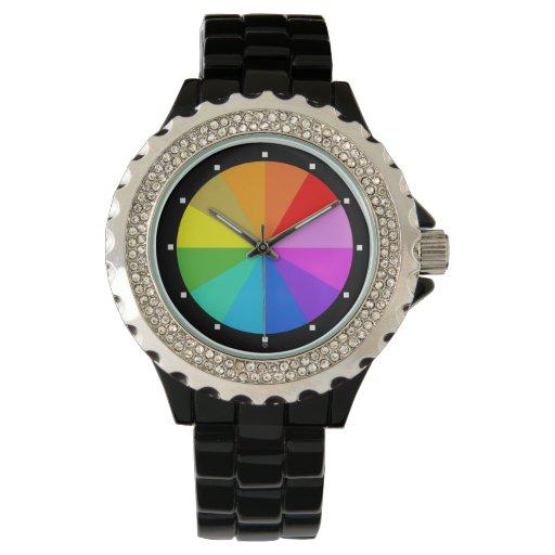 Negro del reloj del diamante artificial del