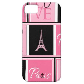 Negro del rosa del amor de la torre Eiffel de iPhone 5 Fundas