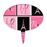 Negro del rosa del amor de la torre Eiffel de Parí Decoración De Tarta