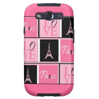 Negro del rosa del amor de la torre Eiffel de Parí Samsung Galaxy S3 Funda