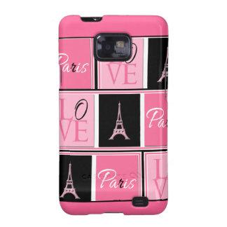 Negro del rosa del amor de la torre Eiffel de Parí Galaxy S2 Cobertura