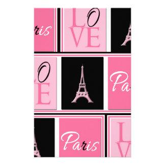 Negro del rosa del amor de la torre Eiffel de Parí Papeleria