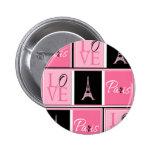 Negro del rosa del amor de la torre Eiffel de Parí Pins