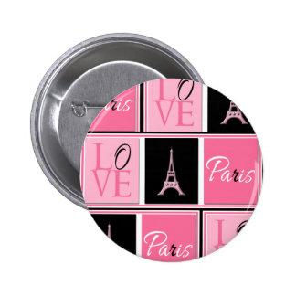 Negro del rosa del amor de la torre Eiffel de Parí Pin Redondo De 2 Pulgadas