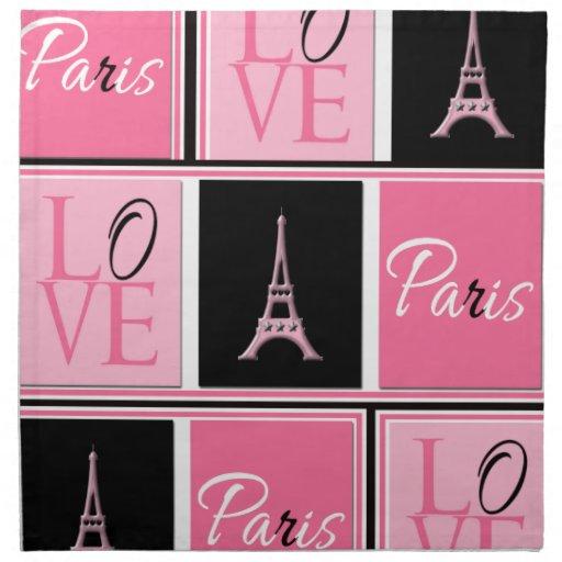 Negro del rosa del amor de la torre Eiffel de Parí Servilleta Imprimida