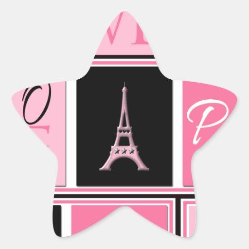 Negro del rosa del amor de la torre Eiffel de Pegatina En Forma De Estrella