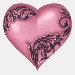 Negro del rosa w de la voluta del corazón calcomanías corazones
