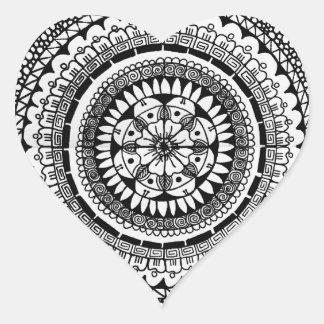 Negro del seísmo pegatina en forma de corazón