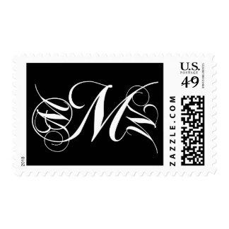 Negro del sello de la inicial M de la letra del mo