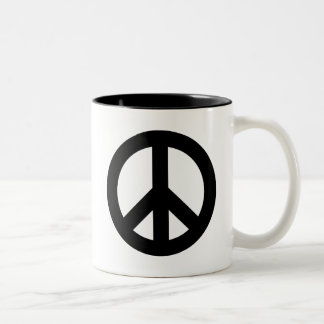 Negro del signo de la paz taza de dos tonos