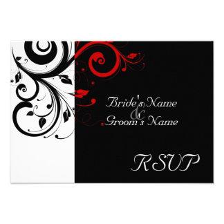 Negro del SM +Remolino rojo blanco que se casa hac Invitaciones Personalizada