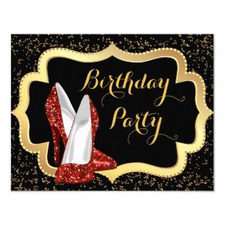 """Negro del tacón alto y fiesta de cumpleaños rojos invitación 4.25"""" x 5.5"""""""