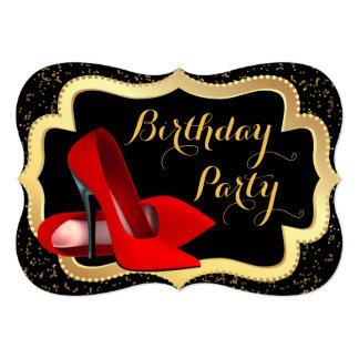 """Negro del tacón alto y fiesta de cumpleaños rojos invitación 5"""" x 7"""""""