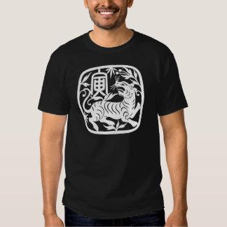 Negro del tigre del corte del papel chino polera