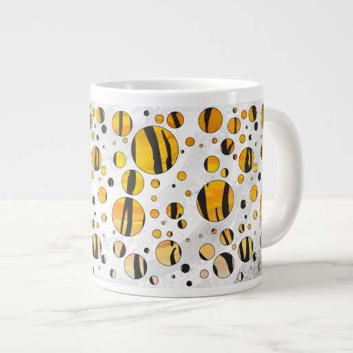 Negro del tigre del lunar e impresión anaranjada taza grande